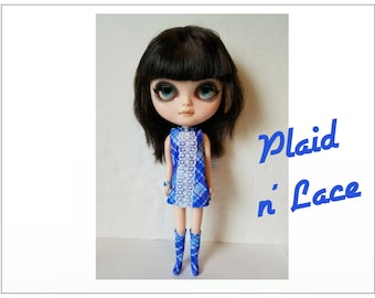 BLYTHE Doll Clothes - Plaid N' Lace Dress, Boots and Jewelry - custom fashion by dolls4emma