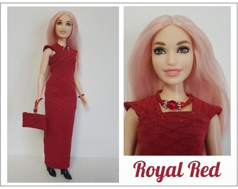 CURVY Barbie Fashionistas  Doll Clothes - ROYAL RED Holiday Dress, Hand-Beaded Purse and Jewelry Set  - Handmade Fashion by dolls4emma