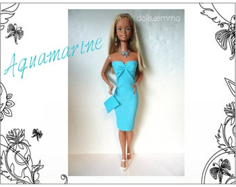 SUPERSIZE 18 in  BARBIE Doll Clothes - AQUAMARINE Sexy Dress, hand-bead Purse and Jewelry - by dolls4emma