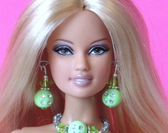 Barbie Doll JEWELRY - Green Peridot and Diamonds Jewelry Set fits Model Muse and more - by dolls4emma