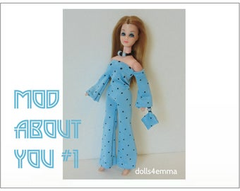 Dawn Doll Clothes - MOD ABOUT YOU #1 - Jumpsuit, Hand-beaded Purse and Jewelry Set - Custom Fashion - by dolls4emma