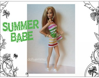 Model Muse Barbie Doll Clothes - SUMMER BABE Sexy Striped Dress, Hand-Beaded Purse and Jewelry Set - Custom Fashion - by dolls4emma