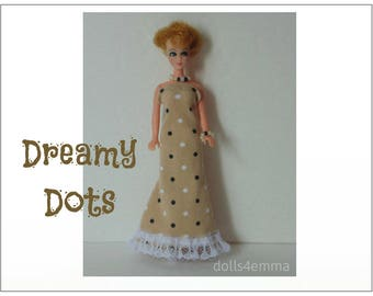 Dawn Doll Clothes - DREAMY DOTS Gown and Jewelry Set - Custom Fashion by dolls4emma