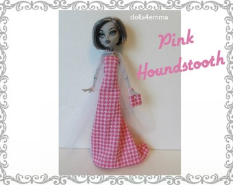 Monster High Doll Clothes - Pink Houndstooth GOWN, Tulle Wrap, PURSE & Jewelry - Handmade Fashion by dolls4emma