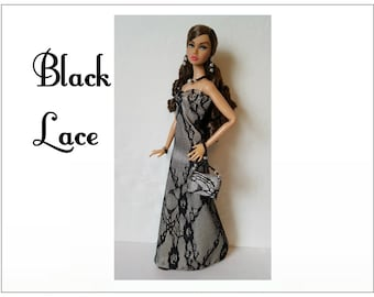 Poppy Parker Doll Clothes - BLACK LACE Gown, hand-beaded Purse and Jewelry Set - Custom Fashion - by dolls4emma