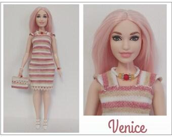 CURVY Barbie Doll Clothes - VENICE Dress Beaded Purse and Jewelry Set - Fashion by dolls4emma
