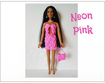 CHER Doll Clothes - NEON PINK Dress, Beaded Purse and Jewelry - fits vintage Mego Farrah, Tennille - Custom Fashion - by dolls4emma