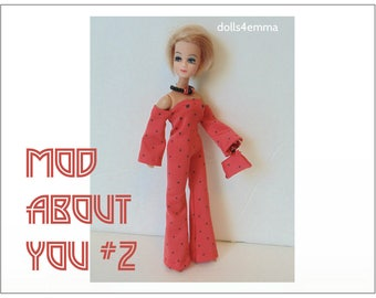 Dawn Doll Clothes - MOD ABOUT YOU #2 - Jumpsuit, Hand-beaded Purse and Jewelry Set - Custom Fashion - by dolls4emma