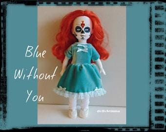 Living Dead Doll Clothes - Teal-Blue Velvet Baby-Doll DRESS - Handmade Fashion - by dolls4emma