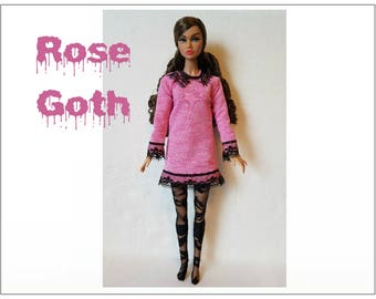 Poppy Parker Doll Clothes - ROSE GOTH Pink Dress and Black Lace Pantyhose - Custom Fashion - by dolls4emma