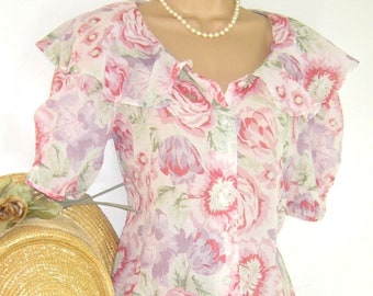 93264d7fcbf LAURA ASHLEY Vintage 1991 Ethereal Pink Rose Layered Voile Skirt & Blouse  Set, UK 8/10 (Label 12)