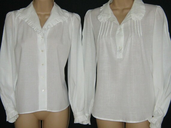 LAURA ASHLEY Vintage 2 x White Frilled Pintuck Vic