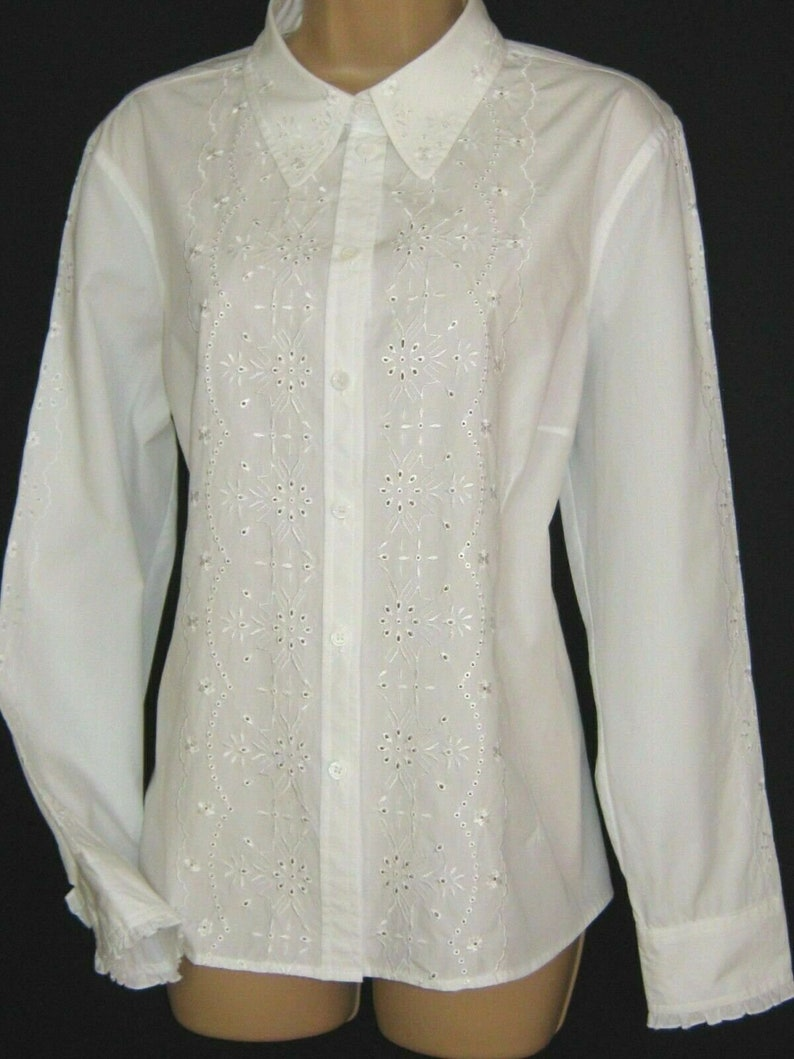 LAURA ASHLEY Vintage White Embroidery Anglaise Ruffle Cuffs Cotton Blouse UK18 with original Sales Tag