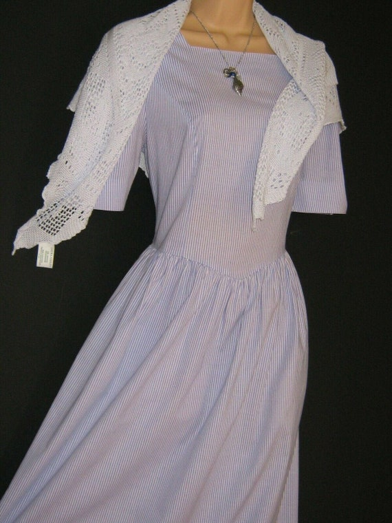LAURA ASHLEY Vintage 80s Periwinkle White Striped