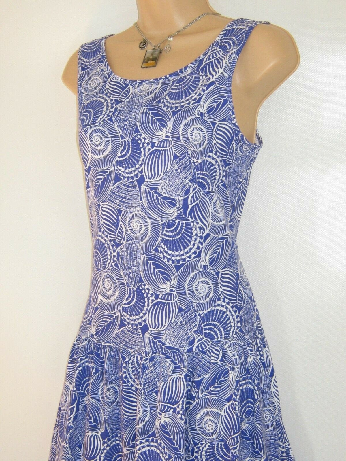 Vintage Scarf Styles -1920s to 1960s Laura Ashley Vintage 91 Ultramarine Seashell Print Cotton Jersey Sundress, Small - With Original Sales Tag $198.70 AT vintagedancer.com
