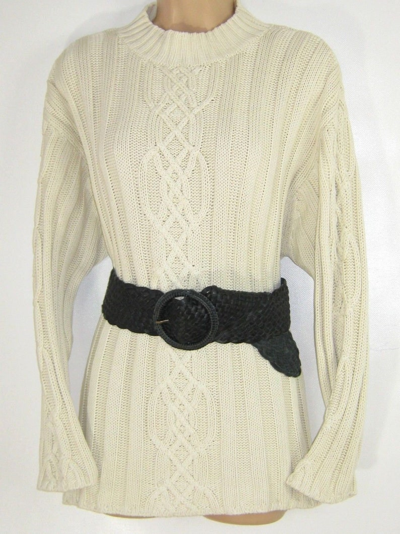 4acfa62a603 LAURA ASHLEY Vintage Ecru Cotton Cable Ribbed Knit Aran
