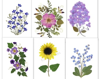 6 Pressed flower Cards - Assorted Notecards - Printed cards #130
