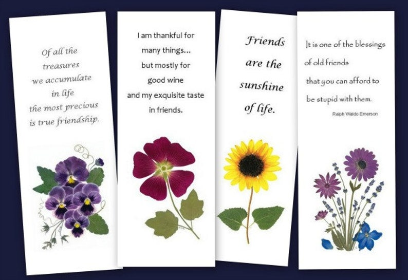 Friendship Bookmarks Set Of 4 Pressed Flower Bookmarks Etsy