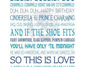 Cinderella Subway Art, 8x10 Digital Print