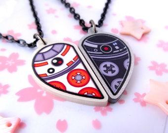 BB-8 & BB-9E Heart Necklace Set