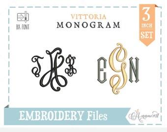 Vittoria Script Monogram Alphabet (Regular & Diamond): Embroidery Font, Instant Download Files for Embroidery Machines, Embroidery file