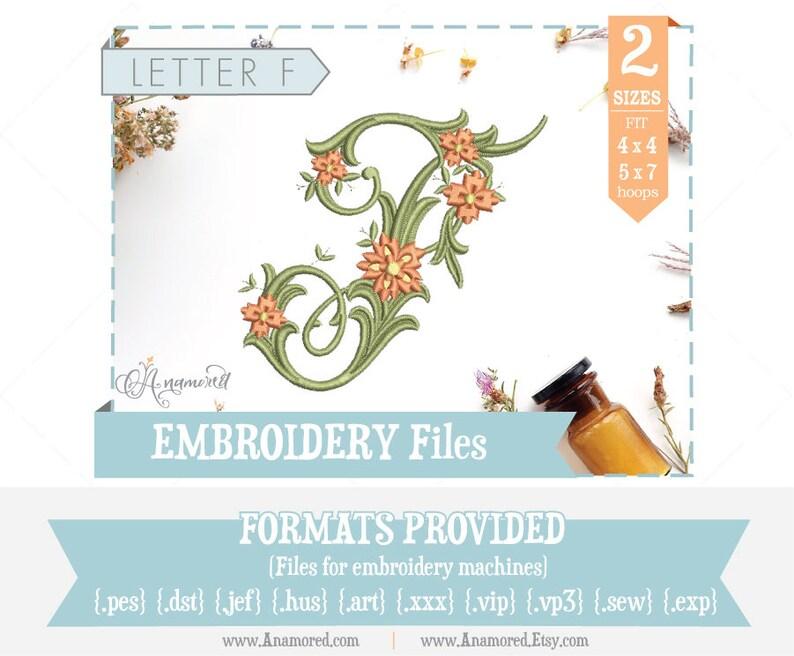Letter F - Floral Antique Vine Monogram Embroidery Font/Alphabet for  Machines / Letter F Monogram - F Embroidery File - Antique F
