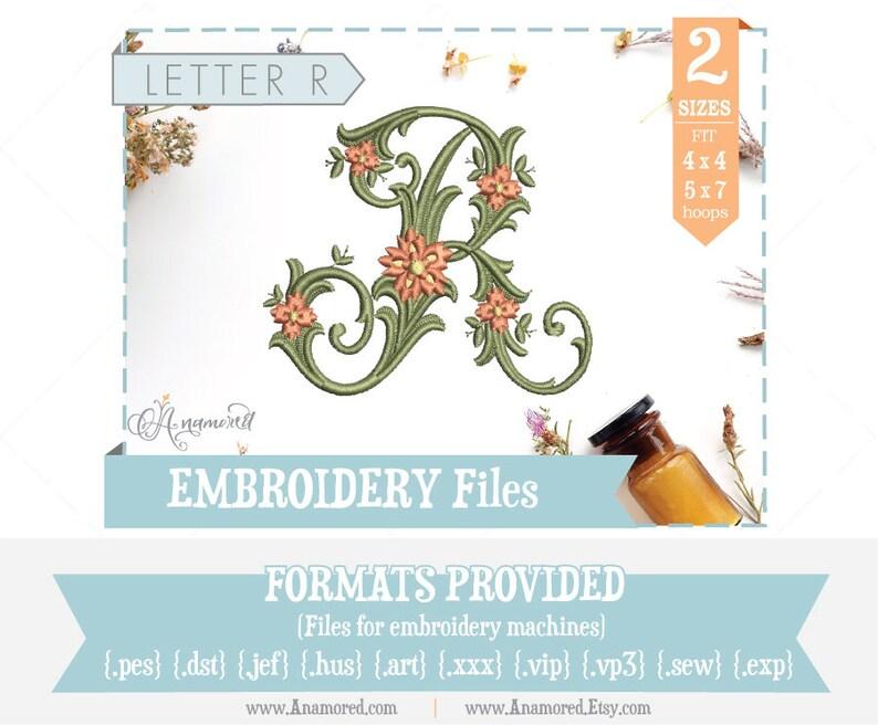 Letter R - Floral Antique Vine Monogram Embroidery Font/Alphabet for  Machines / Letter R Monogram - R Embroidery File - Antique R
