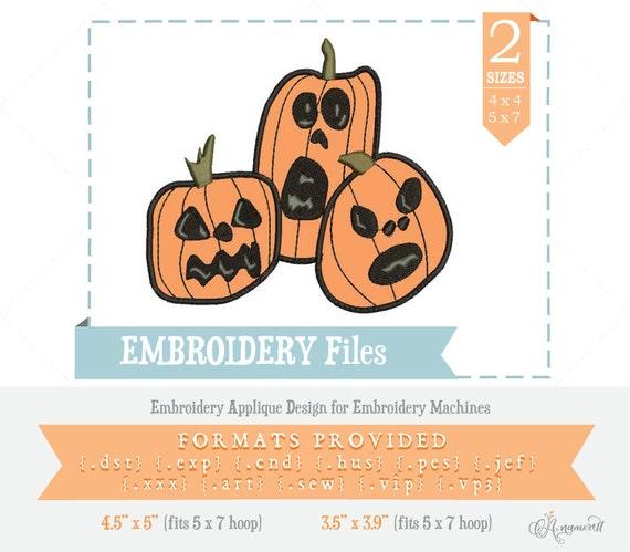 "ABC Designs Applique Pumpkins Machine Embroidery Designs SET 5/""x7/"" Hoop"