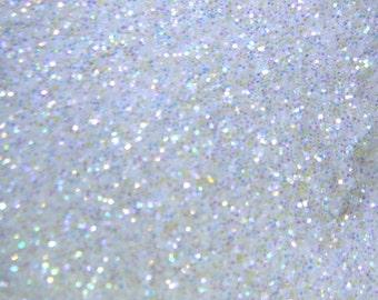 White Rainbow Glitter, Extra-Fine Hex Cut