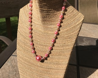 Pearl and Swarovski crystal necklace