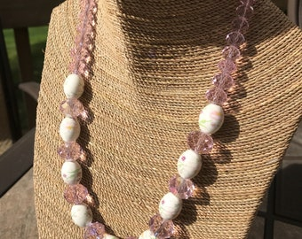 Pink crystal and ceramic beaded  necklace