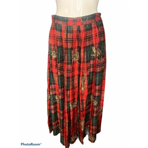 VTG Herman Geist Women's 10 Plaid Skirt Red Green