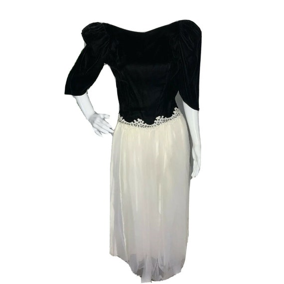 VTG Alfred Angelo Black Velvet Dress 5/6 White Ful