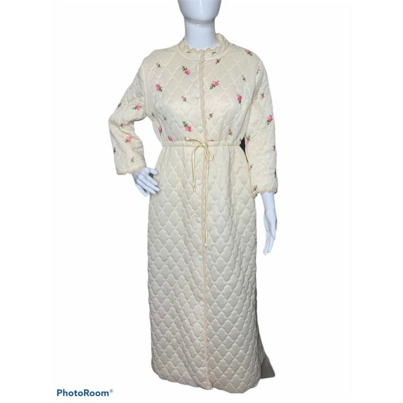 VTG 60s Miss Elaine Quilted Robe Womens S/M Ivory