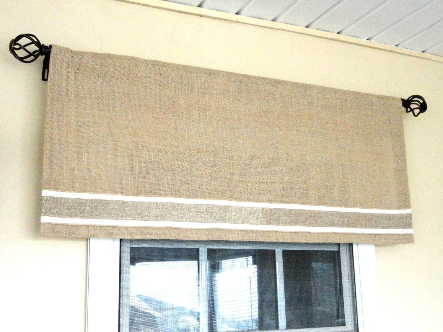 Great Decent burlap valance window treatments Outstanding Quality