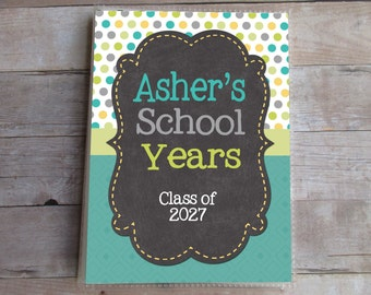 School Photo Album, Personalized, School Years, Matching First and Last Day of School Signs are Available, Grandma Brag Book, Custom
