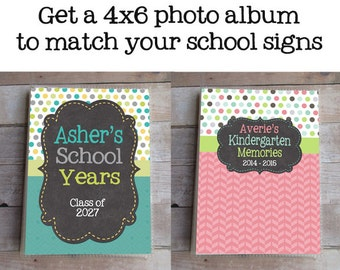 School Photo Album, Personalized, School Years, Matching First and Last Day of School Signs are Available, Grandma Brag Book, Custom, Girl