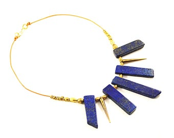 Tribal Lapis Shard Necklace