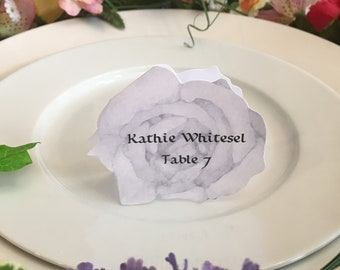 Rose Place Cards - White Rose Place Card - Place Card - Wedding Place Card - Event Escort Card - White Rose