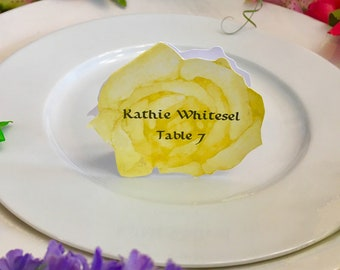 Rose Place Cards - Yellow Rose Place Card - Place Card - Wedding Place Card - Event Escort Card - Yellow Rose