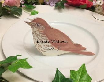 Bird Place Cards - Bird Place Card - Wood Thrush - Place Card - Wedding Place Card - Event Escort Card - Wood Thrush