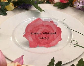 Rose Place Cards - Red Rose Place Card - Place Card - Wedding Place Card - Event Escort Card - Red Rose
