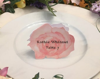 Rose Place Cards -  Peach Rose Place Card - Place Card - Wedding Place Card - Event Escort Card - Peach Rose