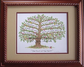 Fruit of the Spirit Art - Fruit of the Spirit -  Galatians 5:22-23 - Illustrated Scripture - Unframed Print