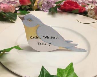 Bird Place Cards - Bird Place Card - Blue Bird - Place Card - Wedding Place Card - Event Escort Card - Bluebird