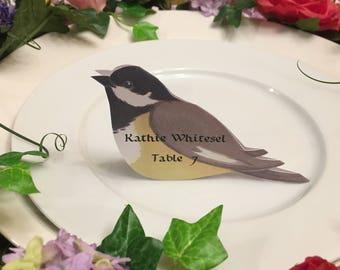 Bird Place Cards - Bird Place Card - Chickadee - Place Card - Wedding Place Card - Event Escort Card - Black-Capped Chickadee