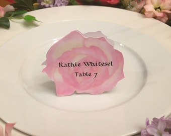 Rose Place Cards - Pink Rose Place Card - Place Card - Wedding Place Card - Event Escort Card - Pink Rose