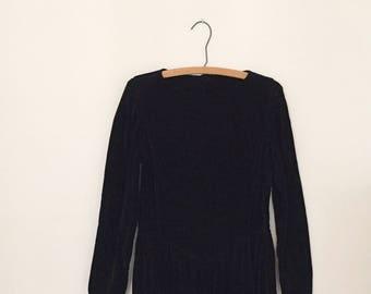 Black Velveteen Maxi Dress - 1980s - By Laura Ashley