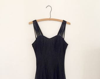 Shimmery Blue and Black Mini-Dress - Early 90s