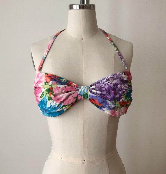 Bright Floral Print Bikini/Bralette Crop Top - 19… - image 1
